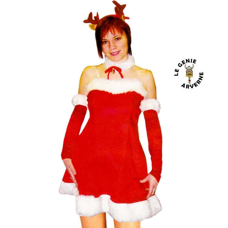 De Robe Avec Long Tête Mère Mi Costume Sexy Serre Renne Noël KJTFc31l