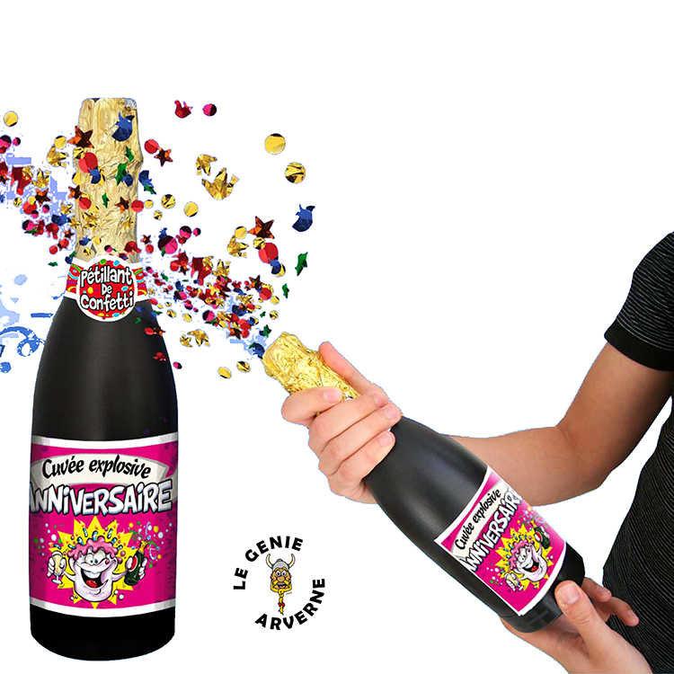 Bouteille Champagne Confettis Anniversaire