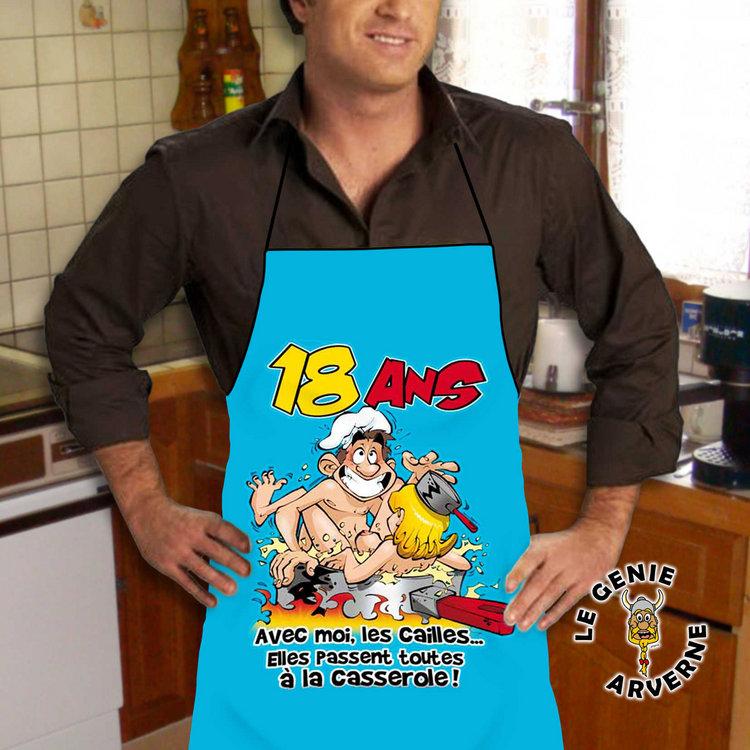 Tablier de cuisine homme 18 ans for Tablier de cuisine humour