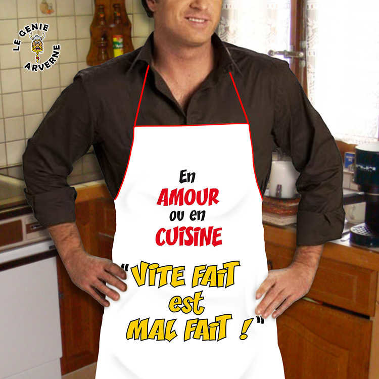 Tablier vite fait mal fait for Tablier de cuisine homme humoristique