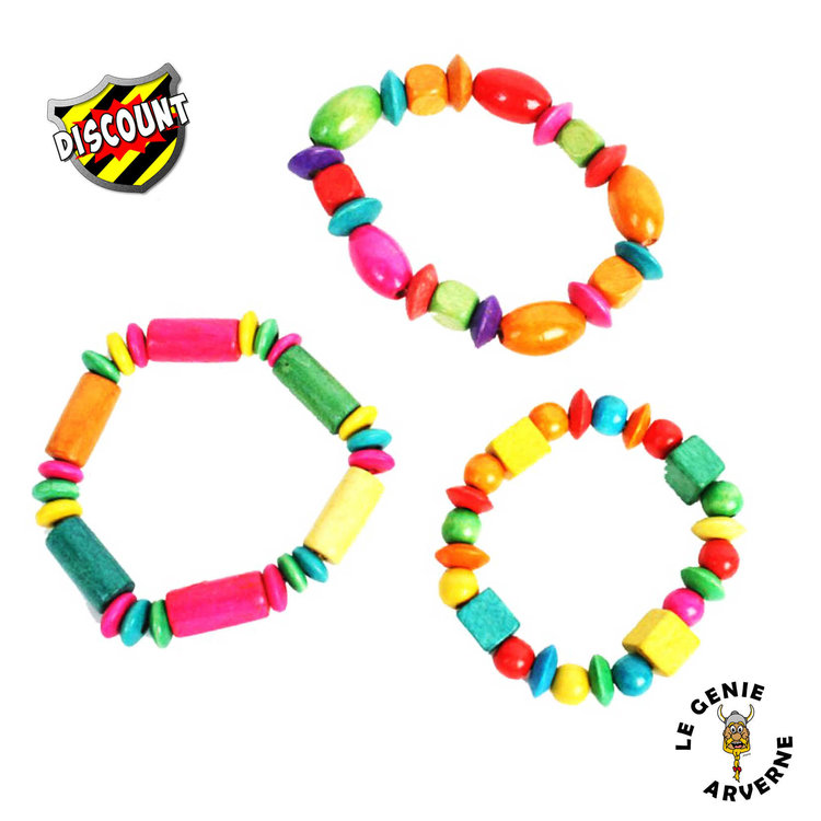Bracelet tendance perles en bois - Fil elastique pour bracelet ...